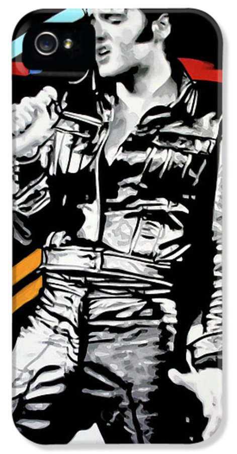 Elvis Presley IPhone 5 Case featuring the painting Elvis by Luis Ludzska