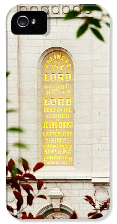 Slc Temple IPhone 5 Case featuring the photograph Holiness To The Lord by La Rae Roberts