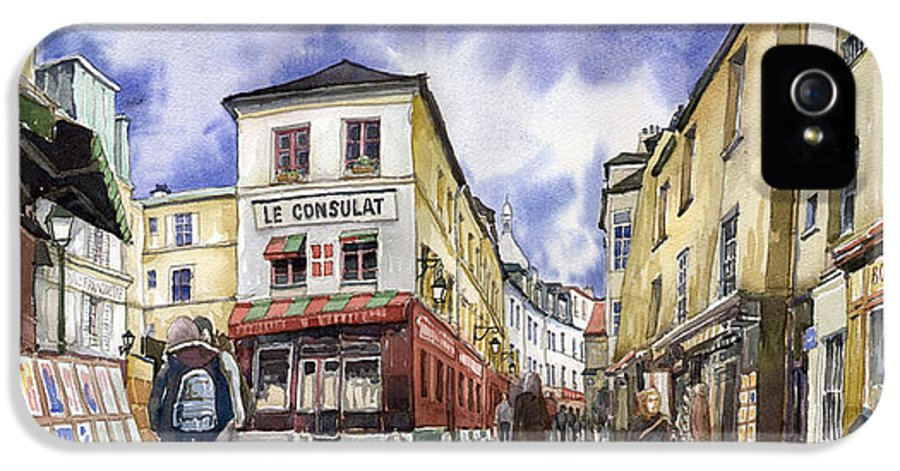 Watercolour IPhone 5 Case featuring the painting Paris Montmartre by Yuriy Shevchuk