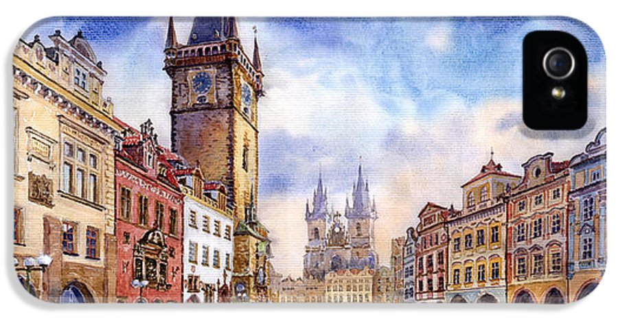 Watercolour IPhone 5 Case featuring the painting Prague Old Town Square by Yuriy Shevchuk