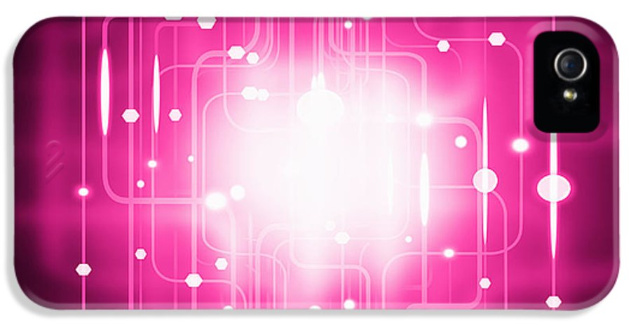 Abstract IPhone 5 Case featuring the photograph Abstract Circuit Board Lighting Effect by Setsiri Silapasuwanchai