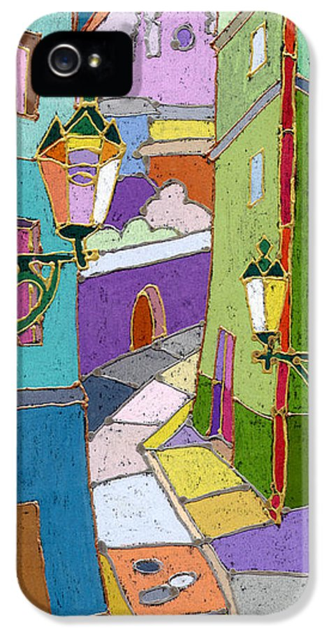 Pastel IPhone 5 Case featuring the painting Prague Old Street by Yuriy Shevchuk
