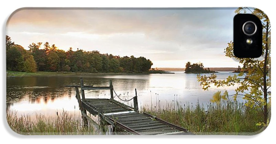 Sunrise IPhone 5 / 5s Case featuring the photograph A Dock On A Lake At Sunrise Near Wawa by Susan Dykstra