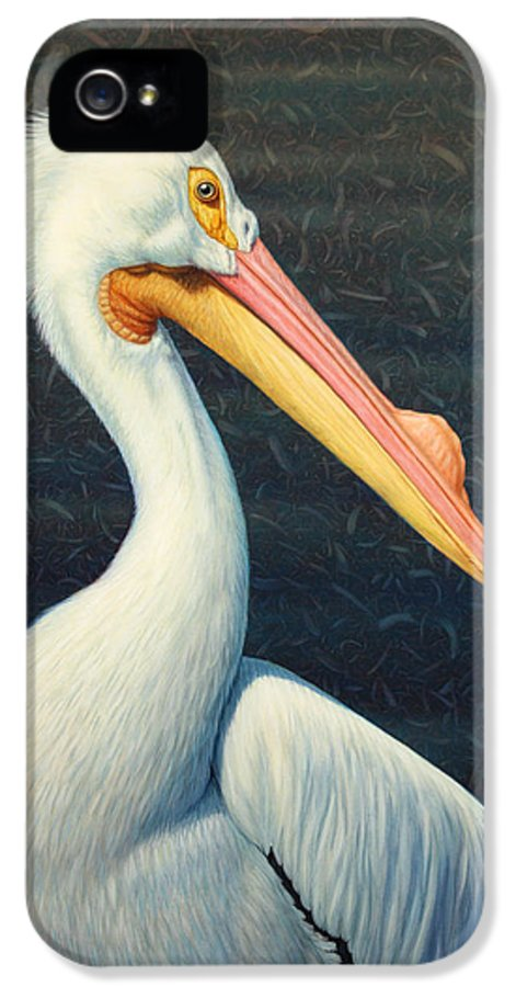 Pelican IPhone 5 Case featuring the painting A Great White American Pelican by James W Johnson