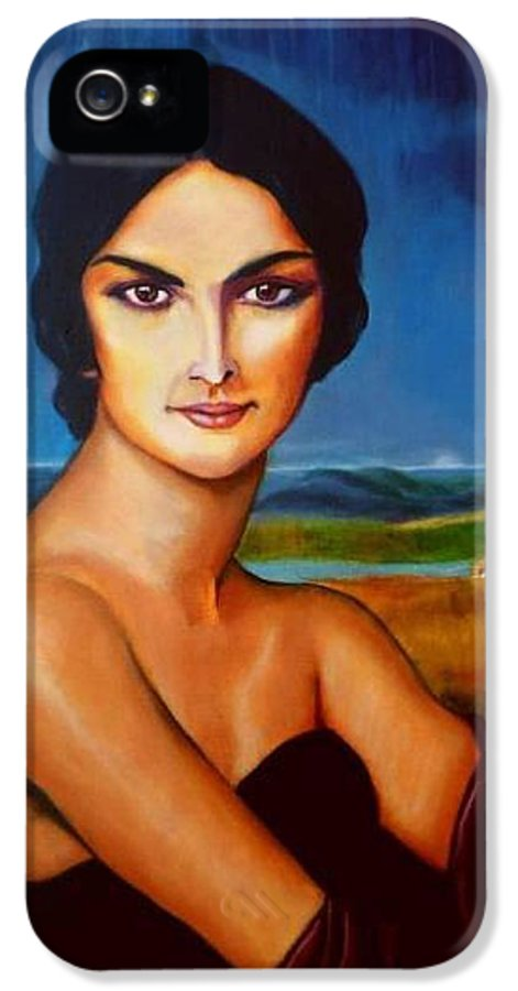 Model Painting IPhone 5 Case featuring the painting A Lady by Manuel Sanchez