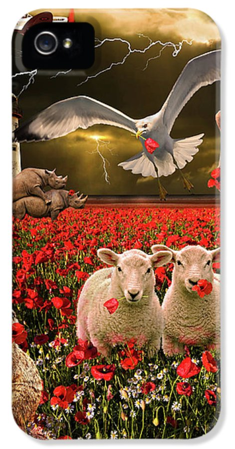 Sheep IPhone 5 Case featuring the photograph A Very Strange Dream by Meirion Matthias