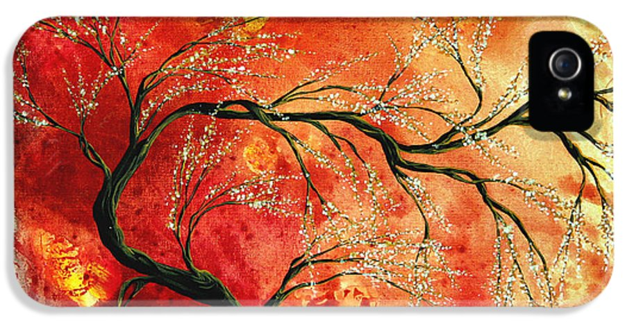 Abstract IPhone 5 Case featuring the painting Abstract Art Floral Tree Landscape Painting Fresh Blossoms By Madart by Megan Duncanson