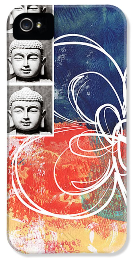 Buddha IPhone 5 Case featuring the mixed media Abstract Buddha by Linda Woods