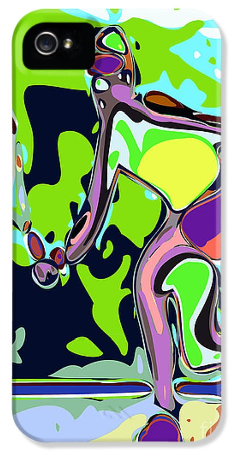 Tennis IPhone 5 Case featuring the digital art Abstract Female Tennis Player 2 by Chris Butler