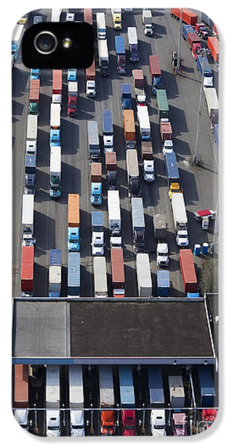 18 Wheeler IPhone 5 Case featuring the photograph Aerial View Of Semi Trucks At Port by Don Mason