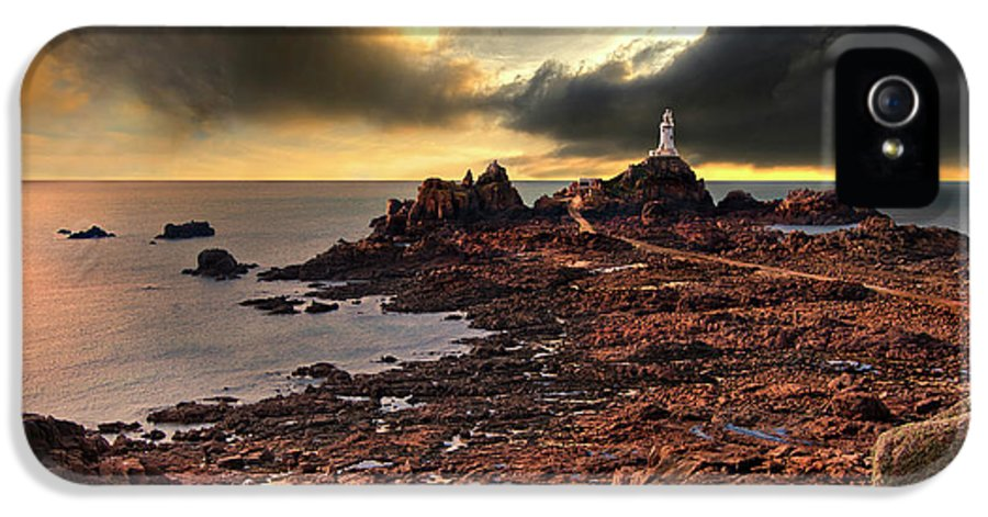 Lighthouse IPhone 5 Case featuring the photograph after the storm at La Corbiere by Meirion Matthias