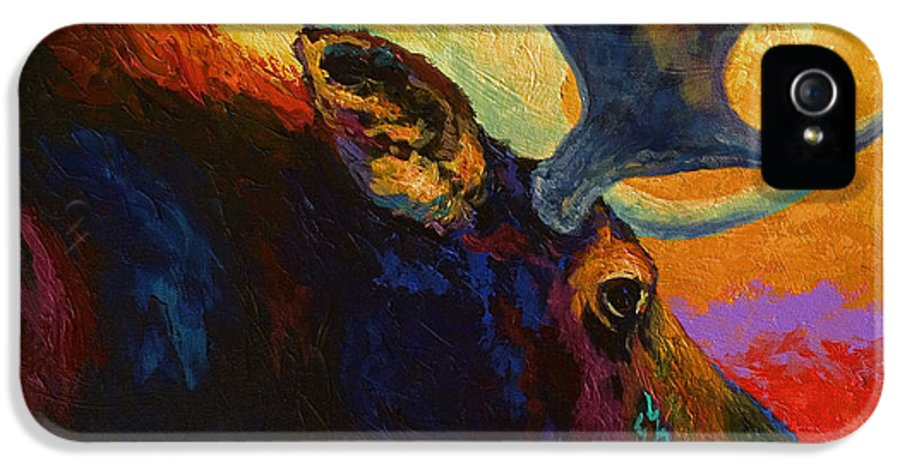 Moose IPhone 5 Case featuring the painting Alaskan Spirit - Moose by Marion Rose