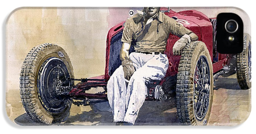 Watercolor IPhone 5 Case featuring the painting Alfa Romeo Monza Tazio Nuvolari 1932 by Yuriy Shevchuk