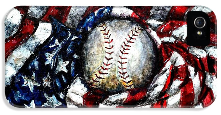 America IPhone 5 / 5s Case featuring the painting All American by Shana Rowe Jackson