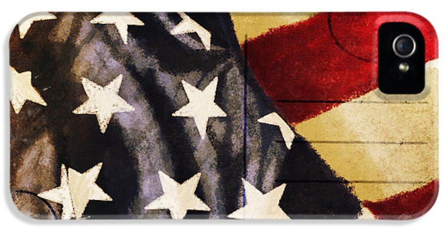 Address IPhone 5 Case featuring the photograph America Flag Pattern Postcard by Setsiri Silapasuwanchai