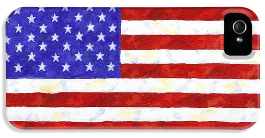American Flag IPhone 5 Case featuring the painting American Flag by Linda Mears