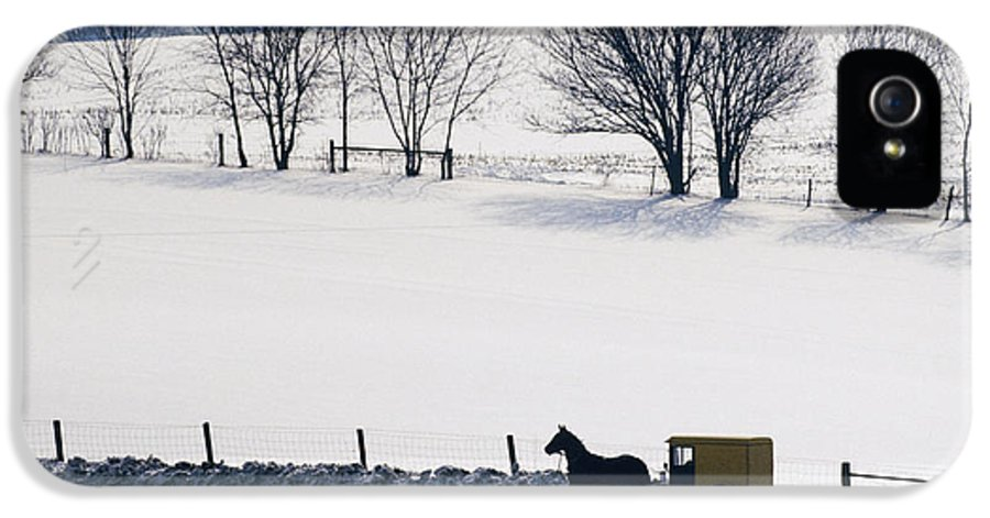 Amish IPhone 5 Case featuring the photograph Amish Horse And Buggy In Snowy Landscape by Jeremy Woodhouse