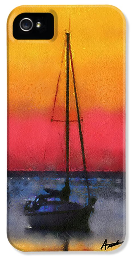 Sunset IPhone 5 / 5s Case featuring the painting Anchored by Anthony Caruso