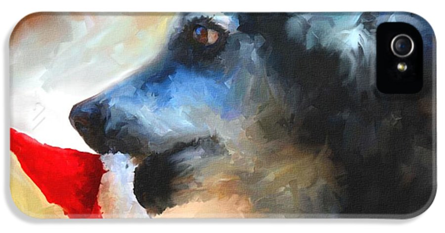 Dog IPhone 5 Case featuring the painting Anticipating Christmas by Jai Johnson