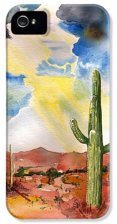 Monsoon IPhone 5 Case featuring the painting Approaching Monsoon by Sharon Mick