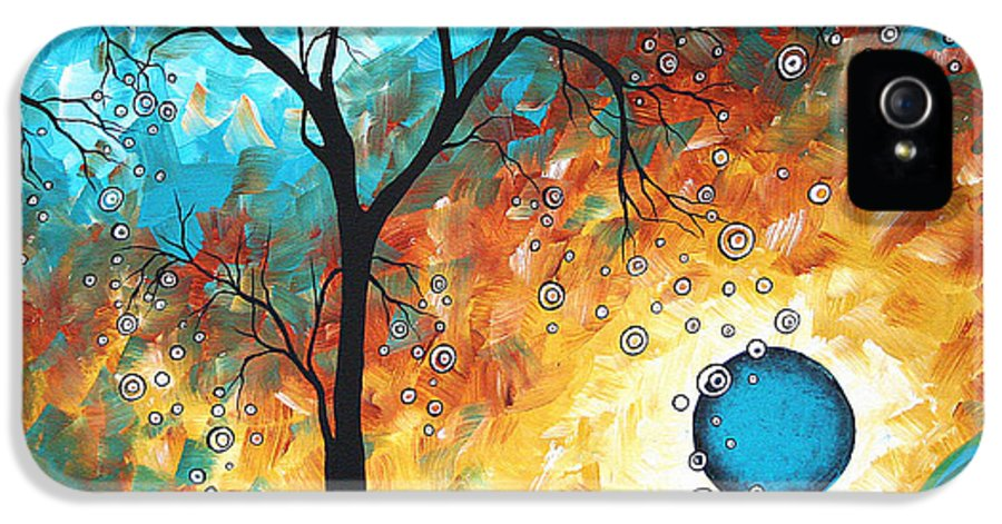 Art IPhone 5 Case featuring the painting Aqua Burn By Madart by Megan Duncanson