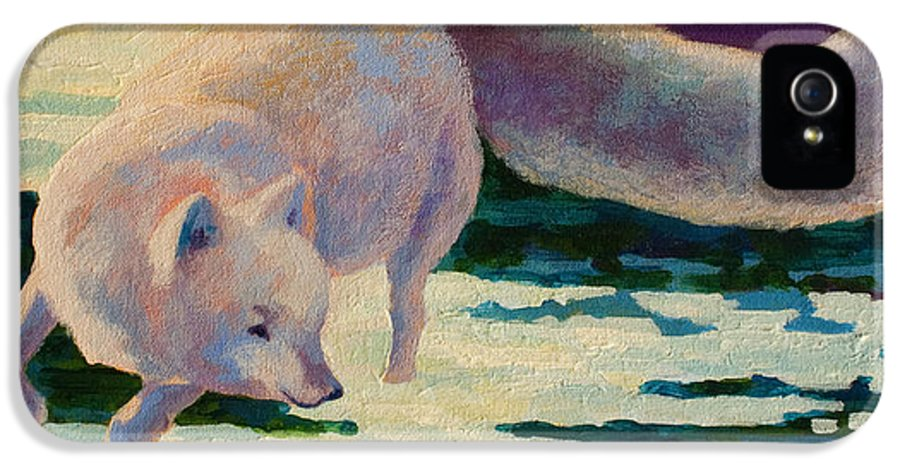 Arctic IPhone 5 Case featuring the painting Arctic Fox by Marion Rose