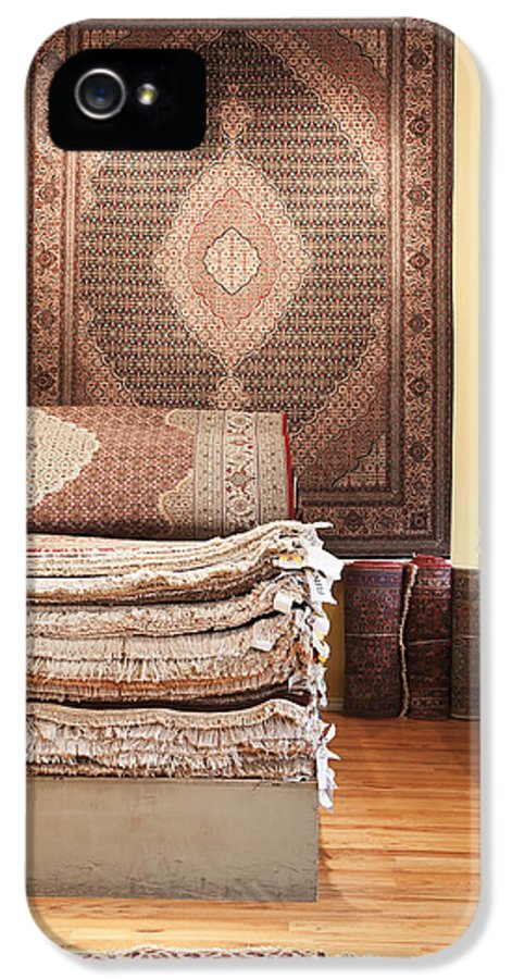 Area Rugs IPhone 5 Case featuring the photograph Area Rugs In A Store by Jetta Productions, Inc