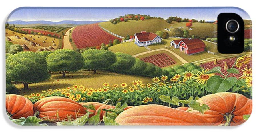 Pumpkin IPhone 5 Case featuring the painting Farm Landscape - Autumn Rural Country Pumpkins Folk Art - Appalachian Americana - Fall Pumpkin Patch by Walt Curlee