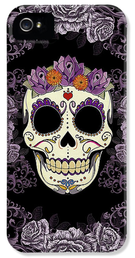 Sugar Skull IPhone 5 Case featuring the digital art Vintage Sugar Skull And Roses by Tammy Wetzel