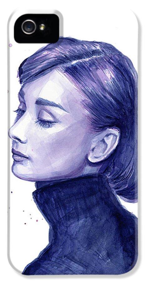 Watercolor IPhone 5 Case featuring the painting Audrey Hepburn Portrait by Olga Shvartsur