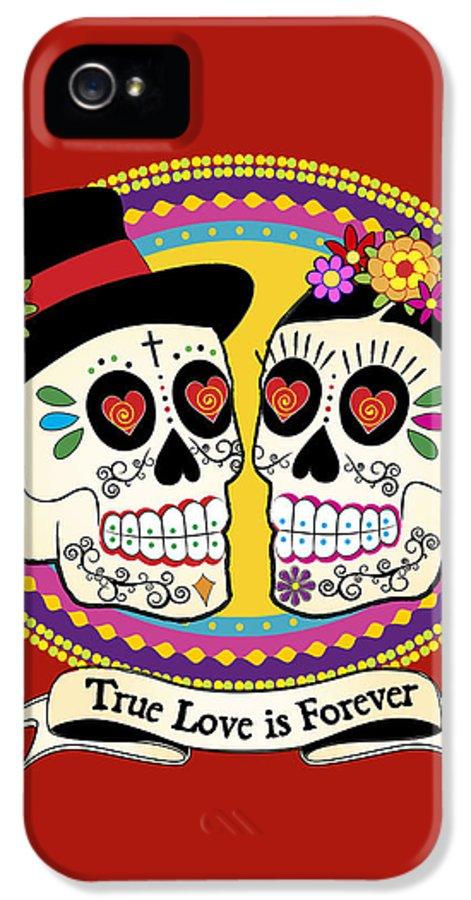Sugar Skull Wedding IPhone 5 Case featuring the digital art Los Novios Sugar Skulls by Tammy Wetzel