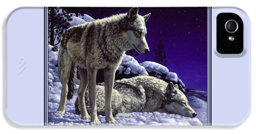 Wolf IPhone 5 Case featuring the painting Wolf Painting - Night Watch by Crista Forest