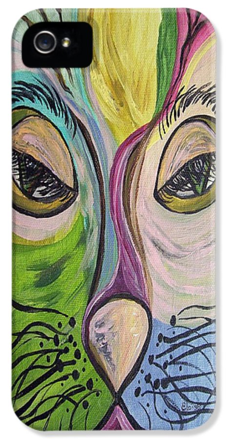 Cute IPhone 5 Case featuring the painting Flirty Feline ... Cat Eyes by Eloise Schneider