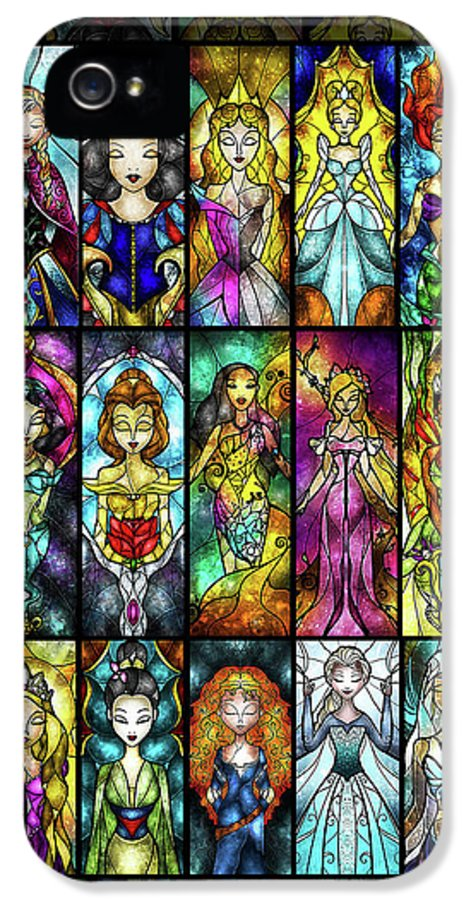 Princess IPhone 5 / 5s Case featuring the digital art The Princesses by Mandie Manzano