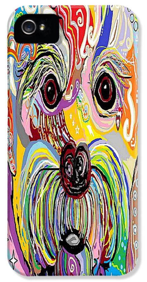 Maltese IPhone 5 Case featuring the painting Maltese Puppy by Eloise Schneider