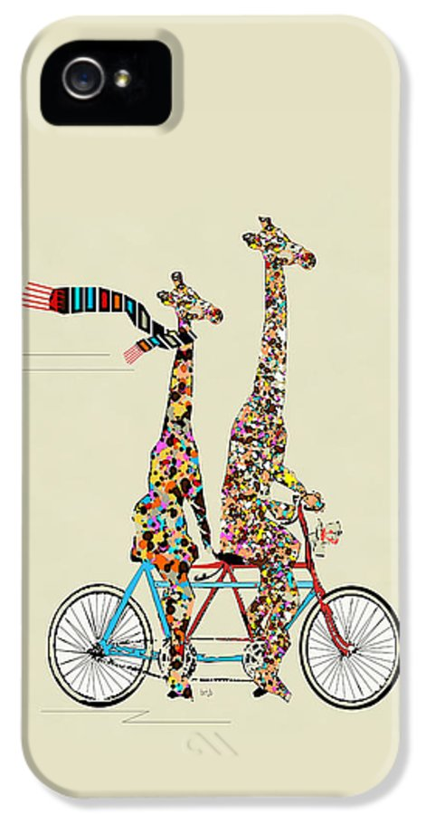 Giraffes IPhone 5 Case featuring the painting Giraffe Days Lets Tandem by Bri Buckley