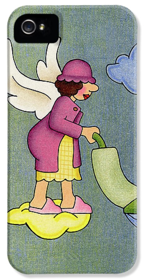 Angels IPhone 5 Case featuring the drawing Heavenly Housekeeper by Sarah Batalka