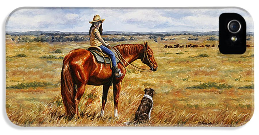 Western IPhone 5 Case featuring the painting Horse Painting - Waiting For Dad by Crista Forest