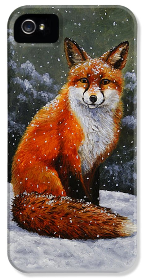 Dog IPhone 5 Case featuring the painting Snow Fox by Crista Forest