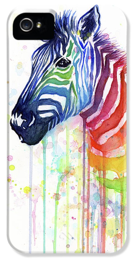 Rainbow IPhone 5 Case featuring the painting Rainbow Zebra - Ode To Fruit Stripes by Olga Shvartsur