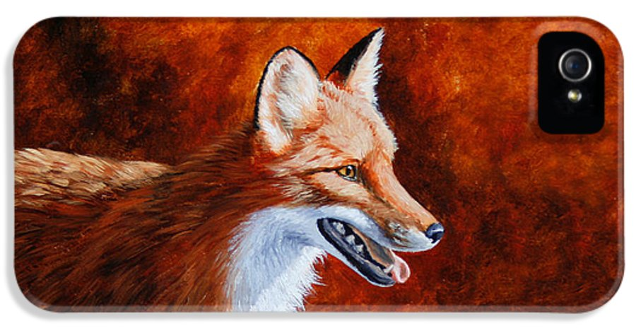 Fox IPhone 5 Case featuring the painting Red Fox - A Warm Day by Crista Forest
