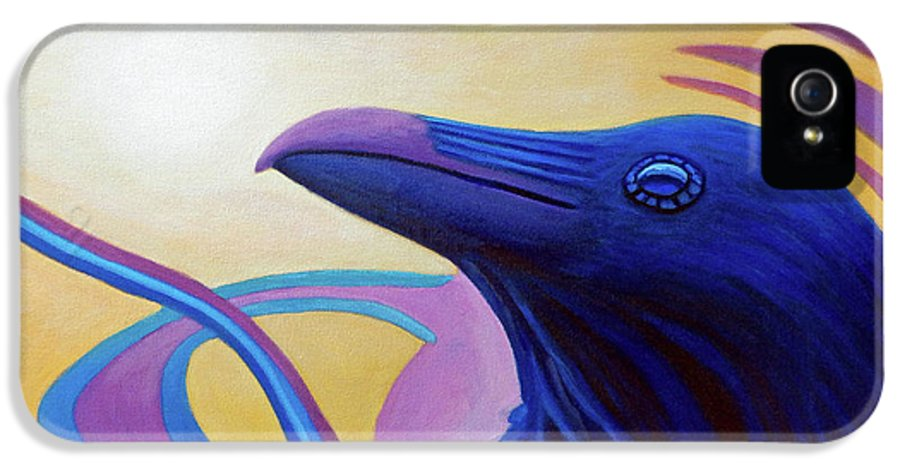 Raven IPhone 5 Case featuring the painting Astral Raven by Brian Commerford