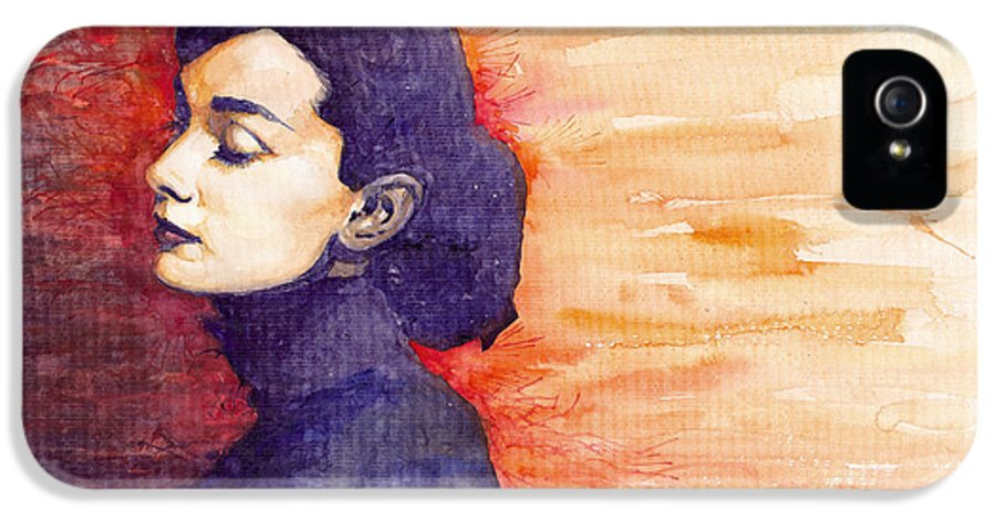 Watercolour IPhone 5 Case featuring the painting Audrey Hepburn 1 by Yuriy Shevchuk