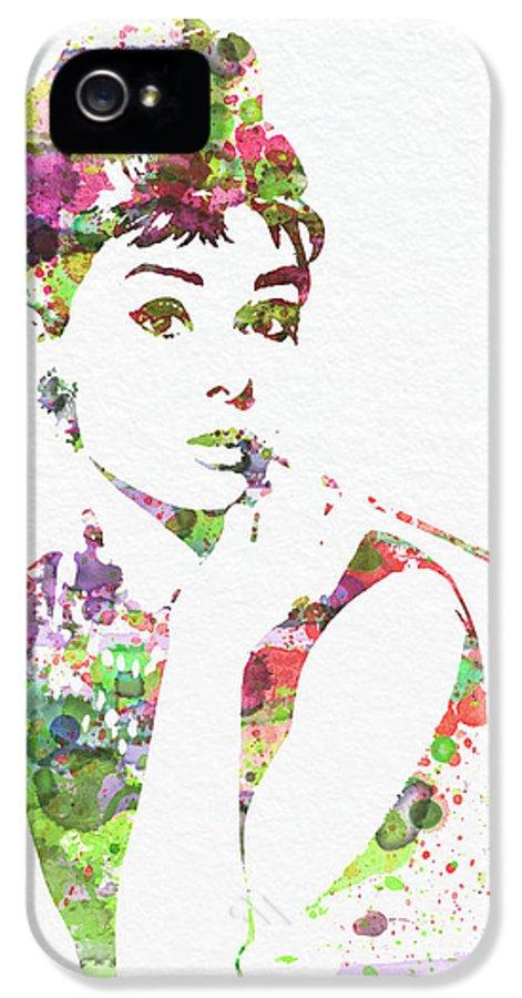Audrey Hepburn IPhone 5 Case featuring the painting Audrey Hepburn 2 by Naxart Studio