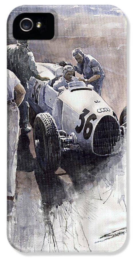 Auto IPhone 5 Case featuring the painting Auto Union B Type 1935 Italian Gp Monza B Rosermeyer by Yuriy Shevchuk