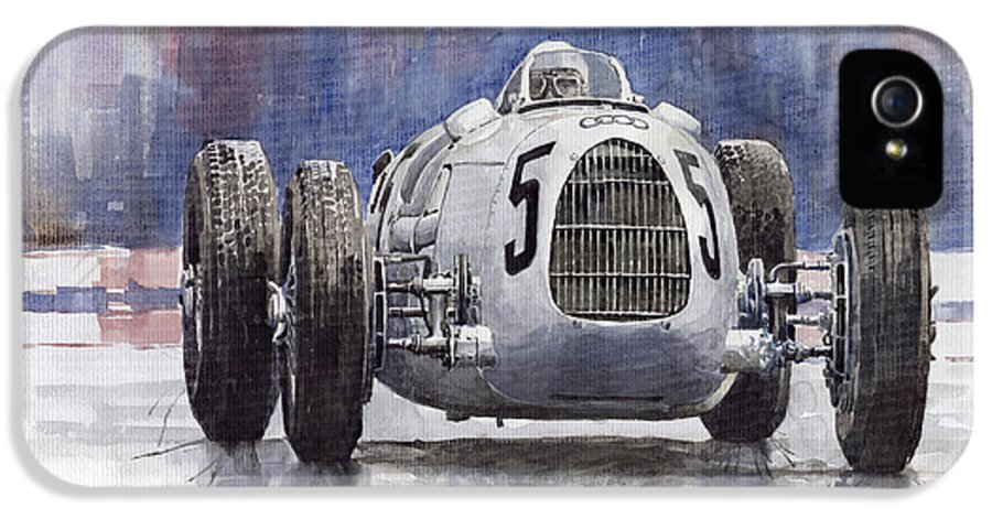 Auto IPhone 5 Case featuring the painting Auto-union Type C 1936 by Yuriy Shevchuk