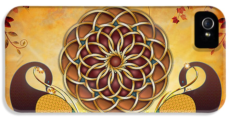 Mandala IPhone 5 Case featuring the digital art Autumn Serenade - Mandala Of The Two Peacocks by Bedros Awak