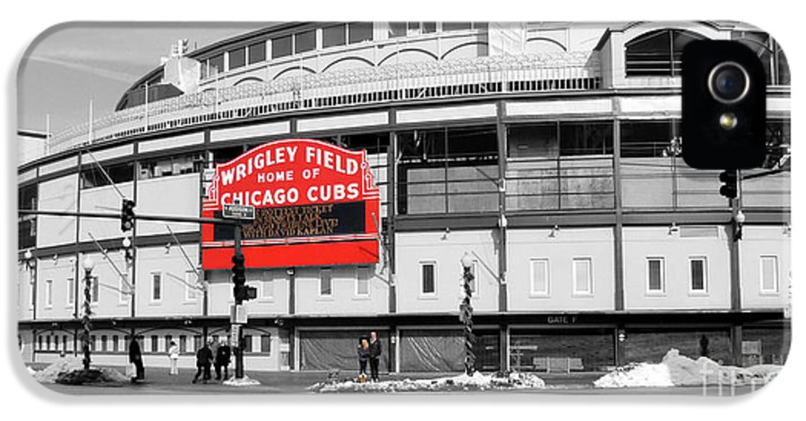 Wrigley Field IPhone 5 Case featuring the photograph B-w Wrigley 100 Years Young by David Bearden
