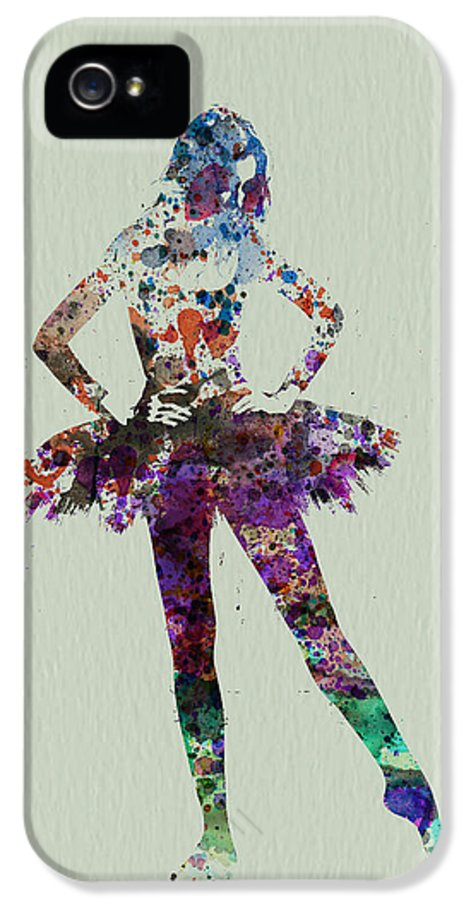 Ballerina IPhone 5 Case featuring the painting Ballerina Watercolor by Naxart Studio