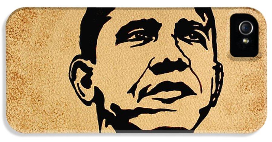 Barack Obama Coffee Painting Pop Art IPhone 5 Case featuring the painting Barack Obama Original Coffee Painting by Georgeta Blanaru
